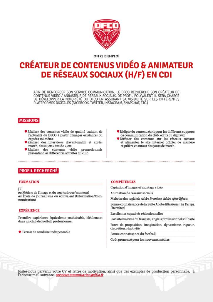Intégrez Le Service Communication Du Dfco Le Sport Business